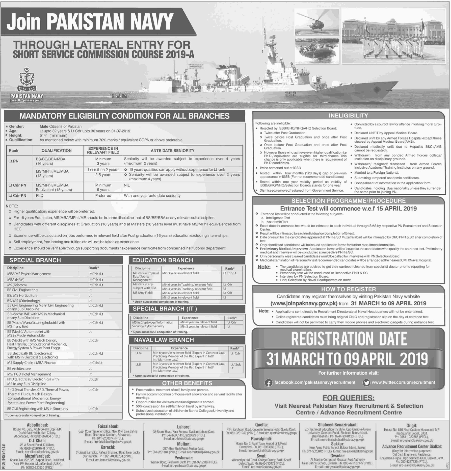 Join Pakistan Navy through Lateral Entry for SSCC 2019-A Latest