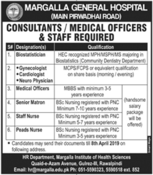 Margalla General Hospital Rawalpindi Jobs 2019 Latest
