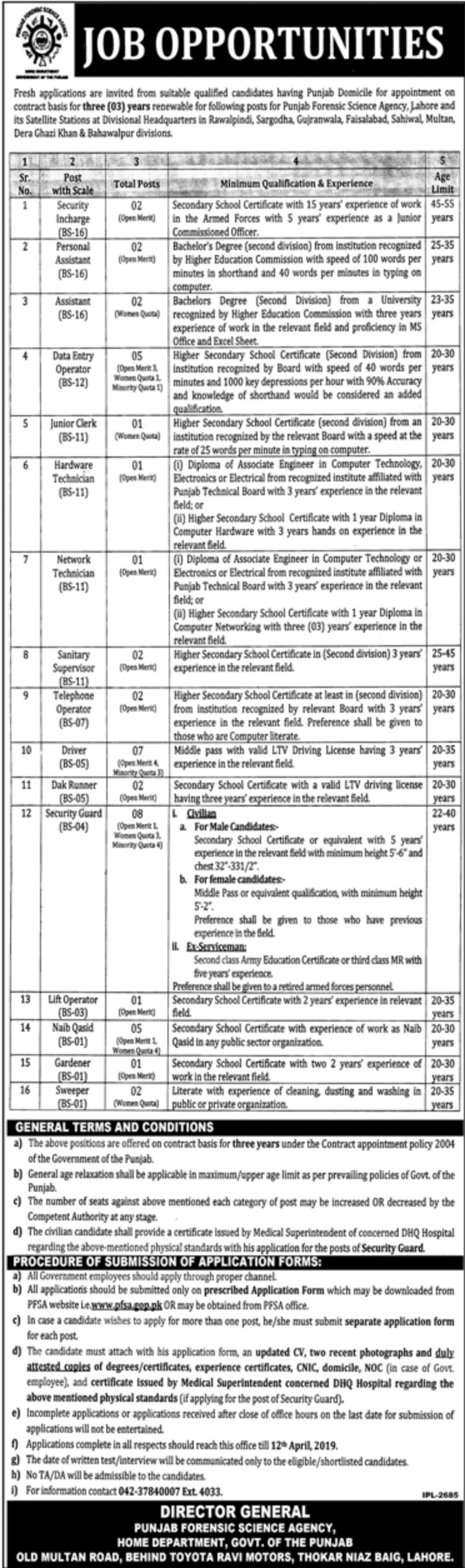 Punjab Forensic Science Agency Home Department Lahore Jobs 2019 Government of Punjab Latest