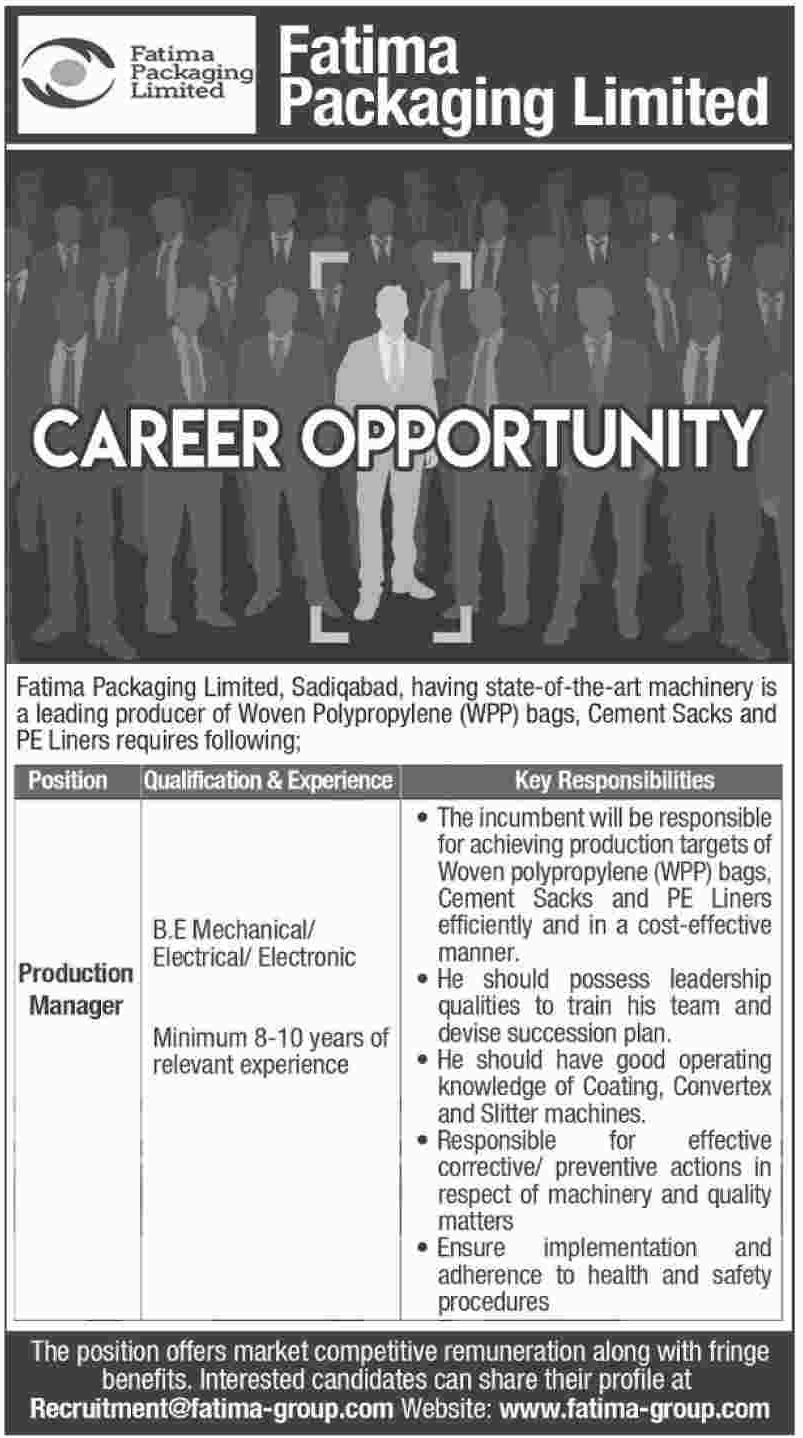 Fatima Packaging Ltd Jobs 2019 Production Manager