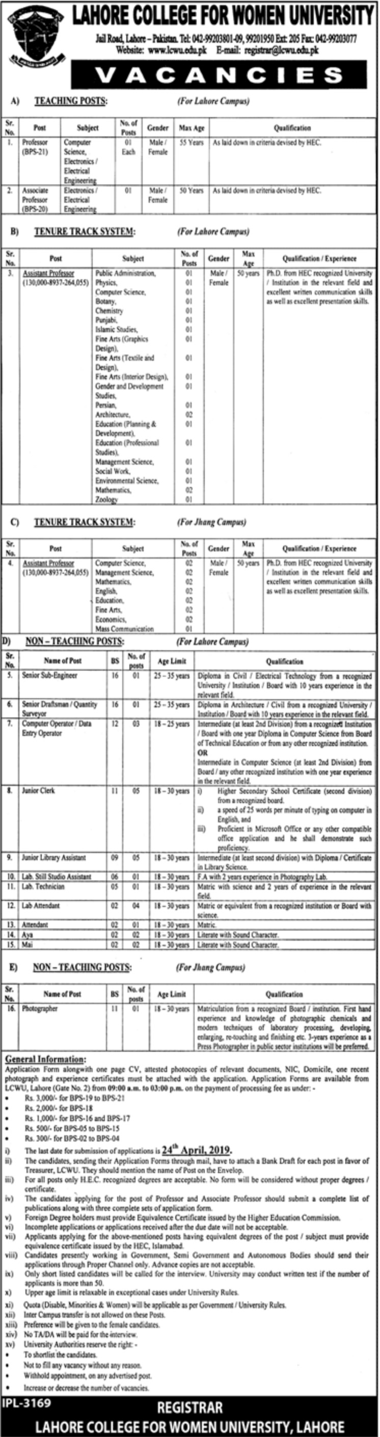 Lahore College for Women University LCWU Jobs 2019 Latest