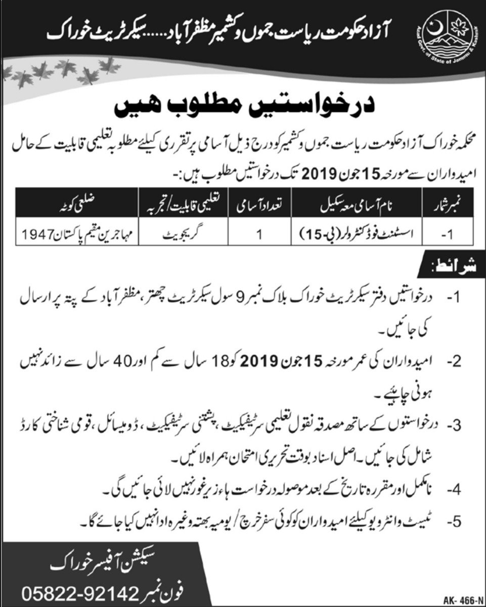 AJK Food Department Jobs 2019 Muzaffarabad