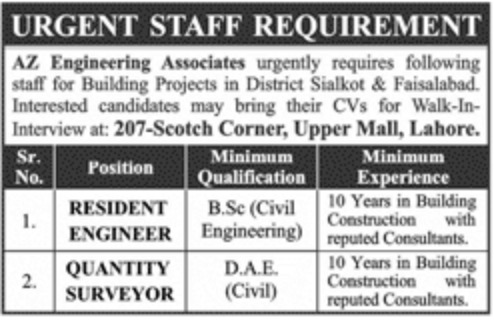 AZ Engineering Associates Lahore Jobs 2019