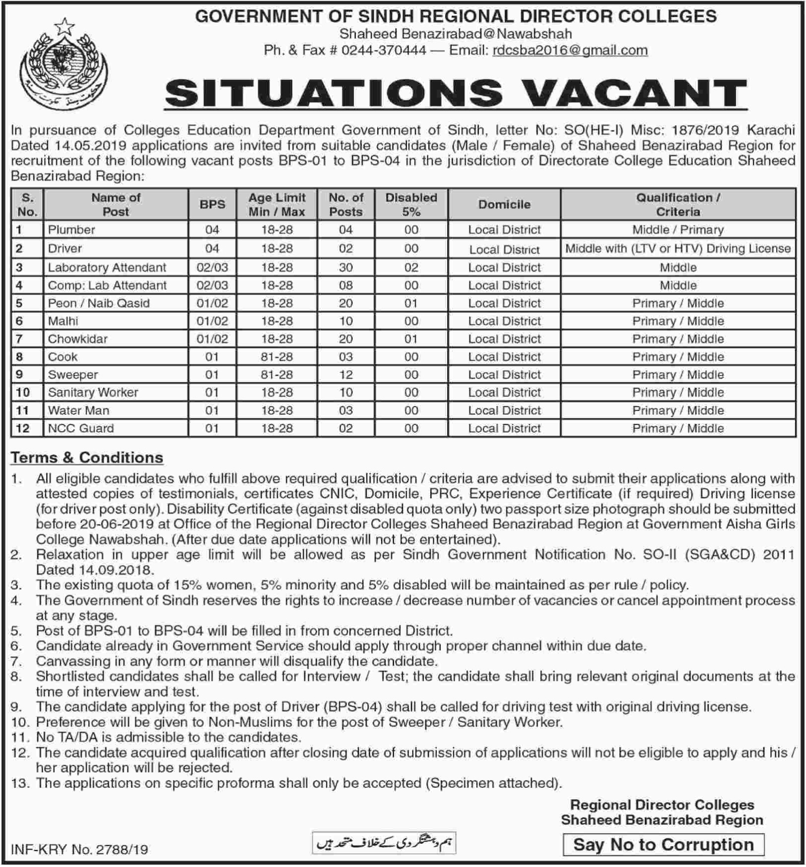 Directorate College Education Shaheed Benazirabad Jobs 2019 Sindh
