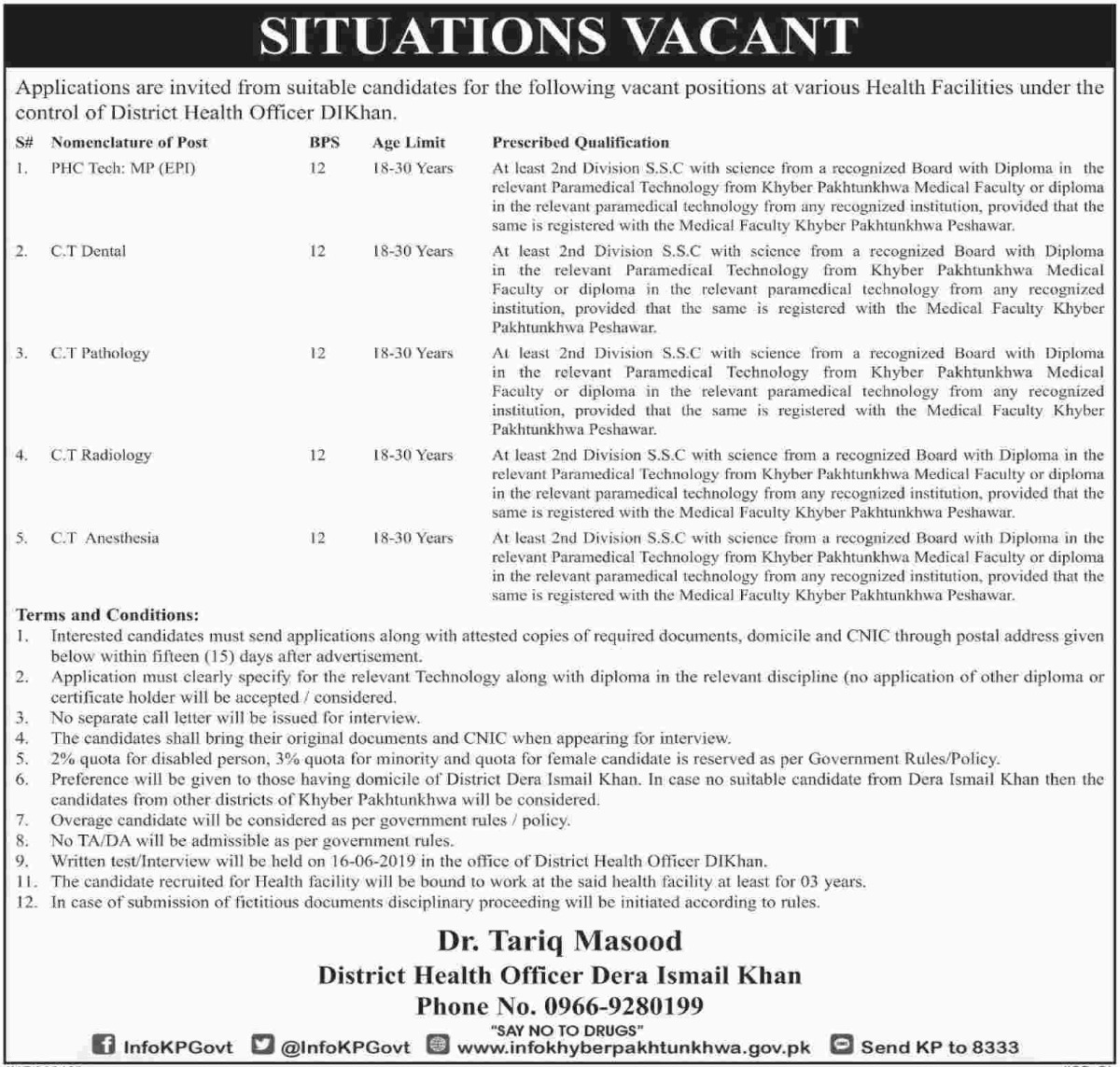 District Health Officer DI Khan Jobs 2019 KPK
