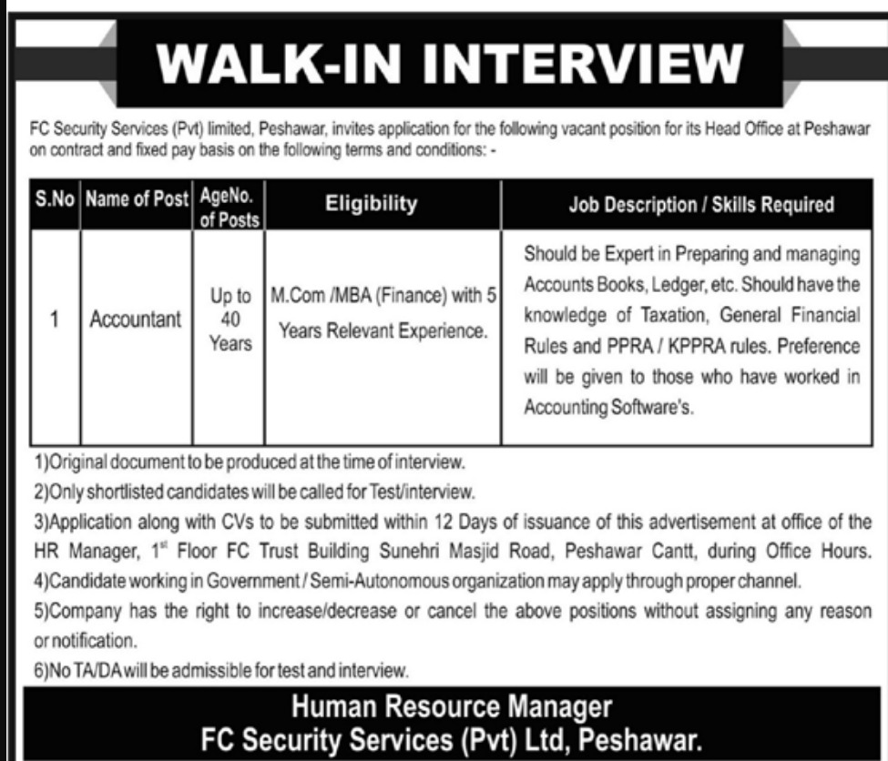 FC Security Services Pvt Ltd Peshawar Jobs 2019 KPK