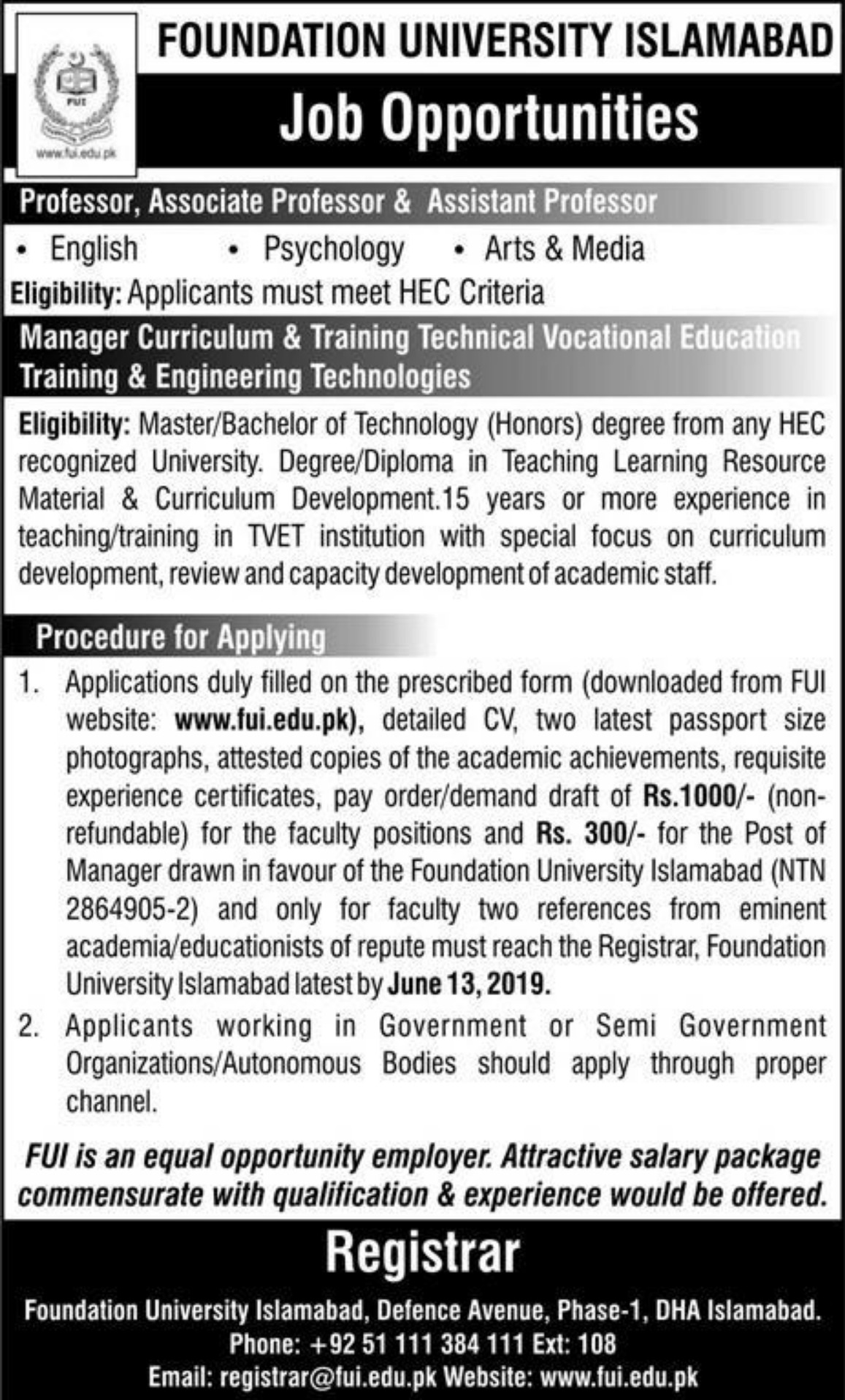 Foundation University Islamabad Jobs 2019