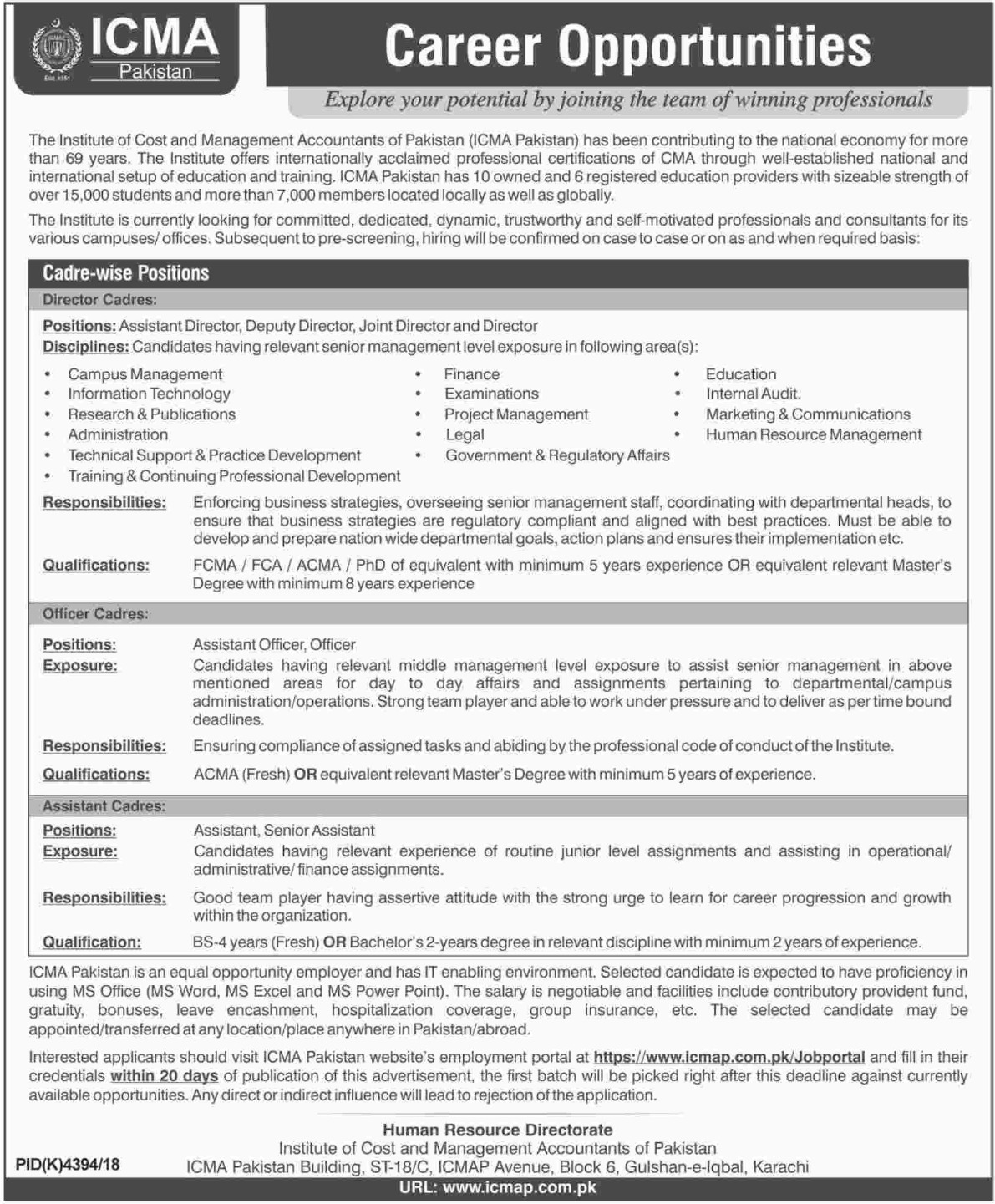 Institute of Cost & Management Accountants of Pakistan ICMA Jobs 2019