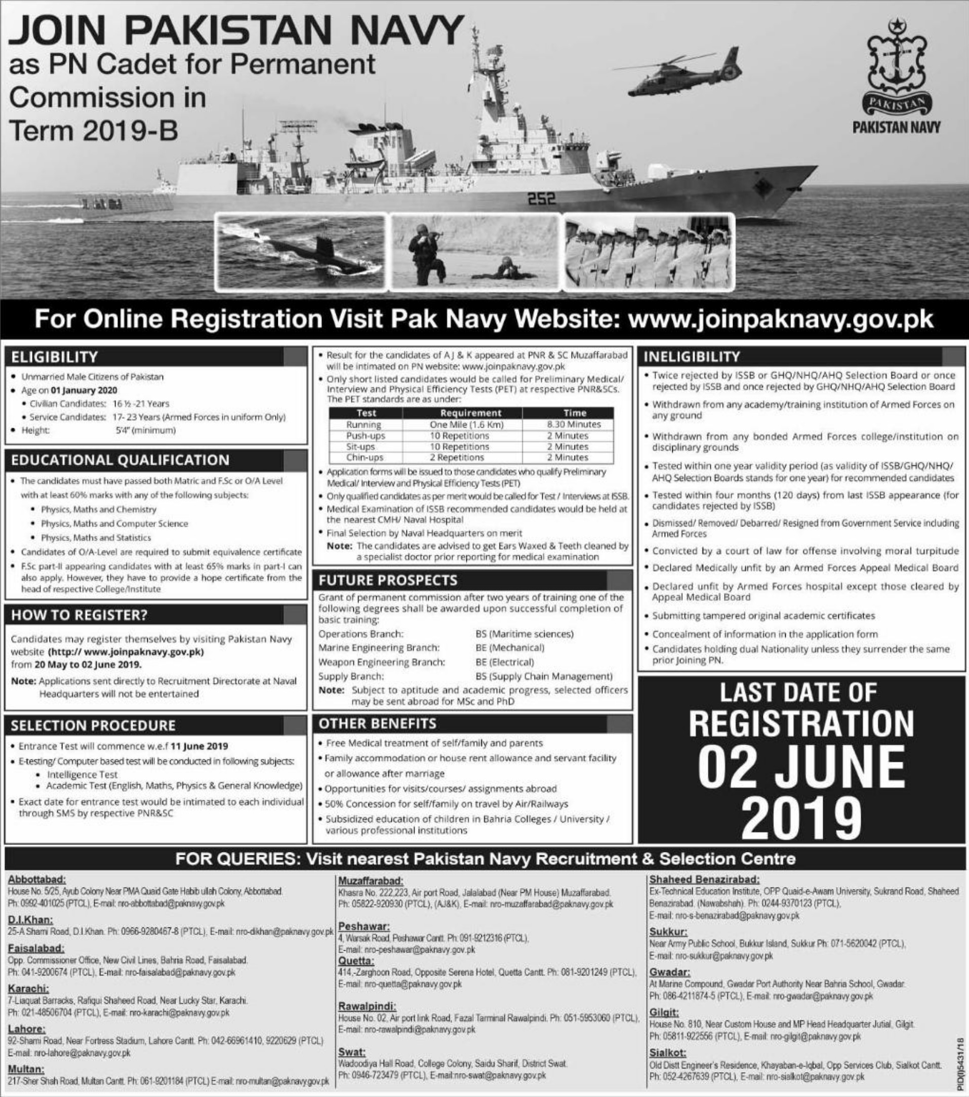 Join Pakistan Navy as PN Cadet for Permanent Commission in Term 2019-B