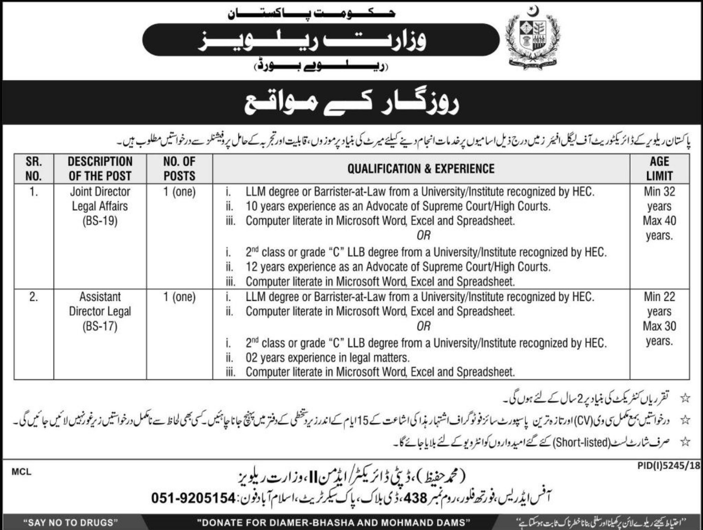 Ministry of Railways Jobs 2019 Government of Pakistan