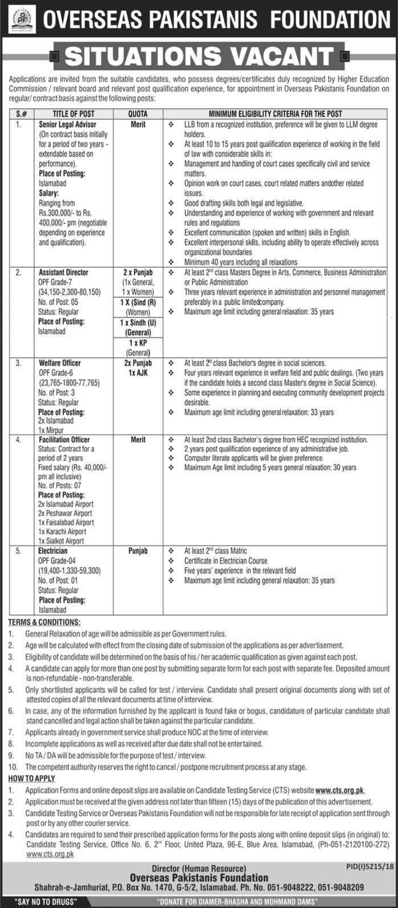 Overseas Pakistanis Foundation OPF Jobs 2019 Pakistan