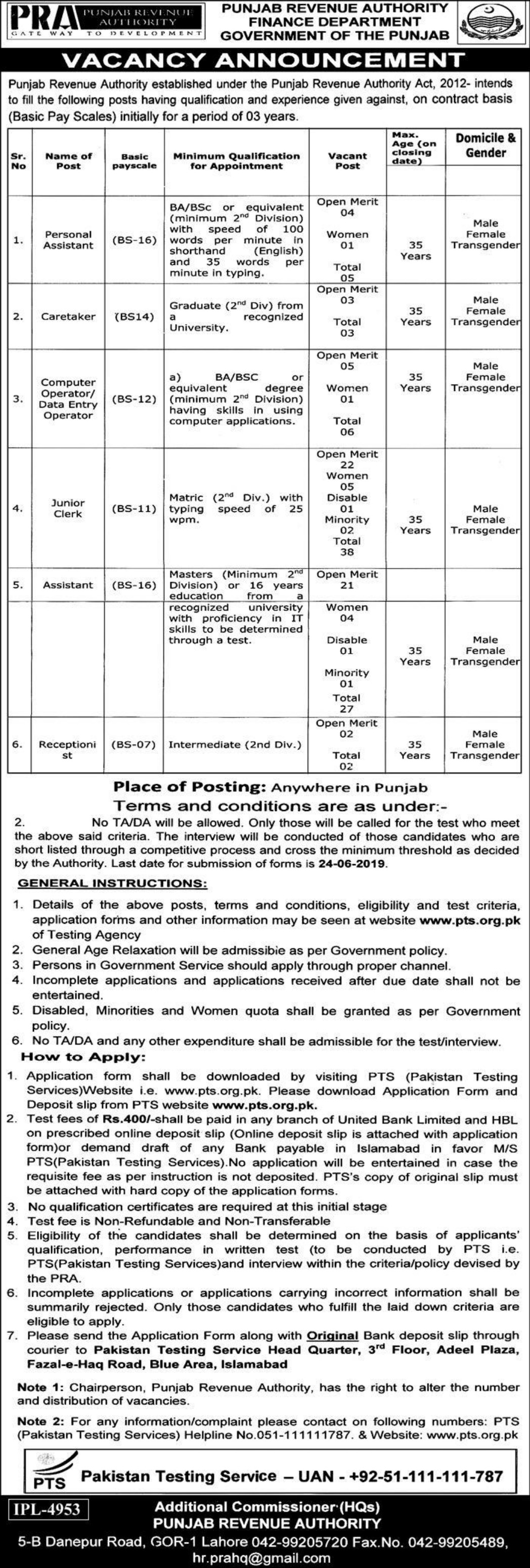 Punjab Revenue Authority PRA Jobs 2019 Finance Department through PTS
