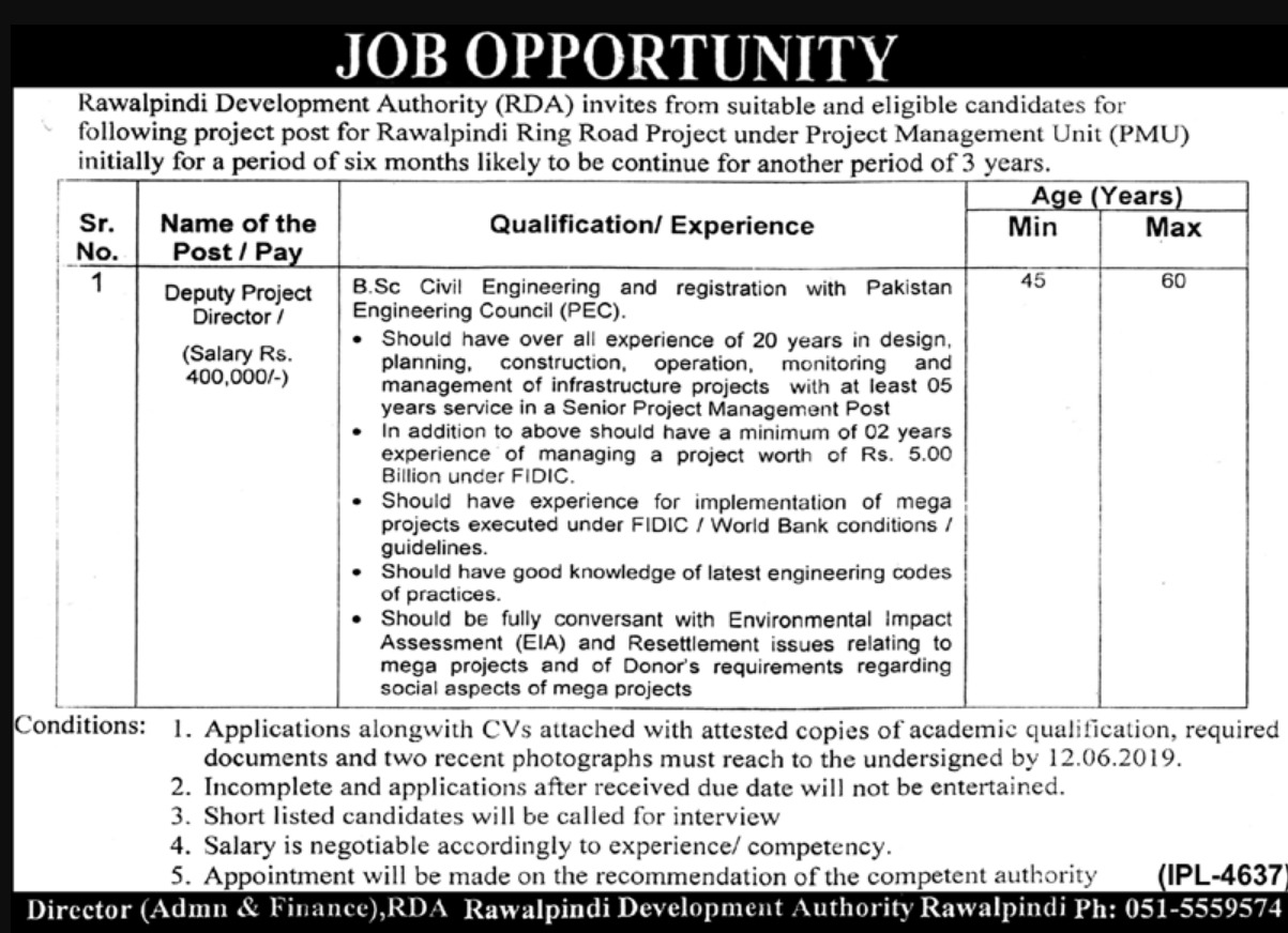 Rawalpindi Development Authority RDA Jobs 2019