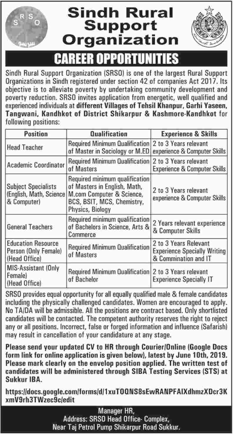 Sindh Rural Support Organization SRSO Jobs 2019 SIBA Testing Services