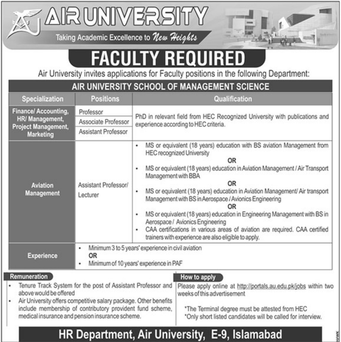 Air University Islamabad Jobs 2019
