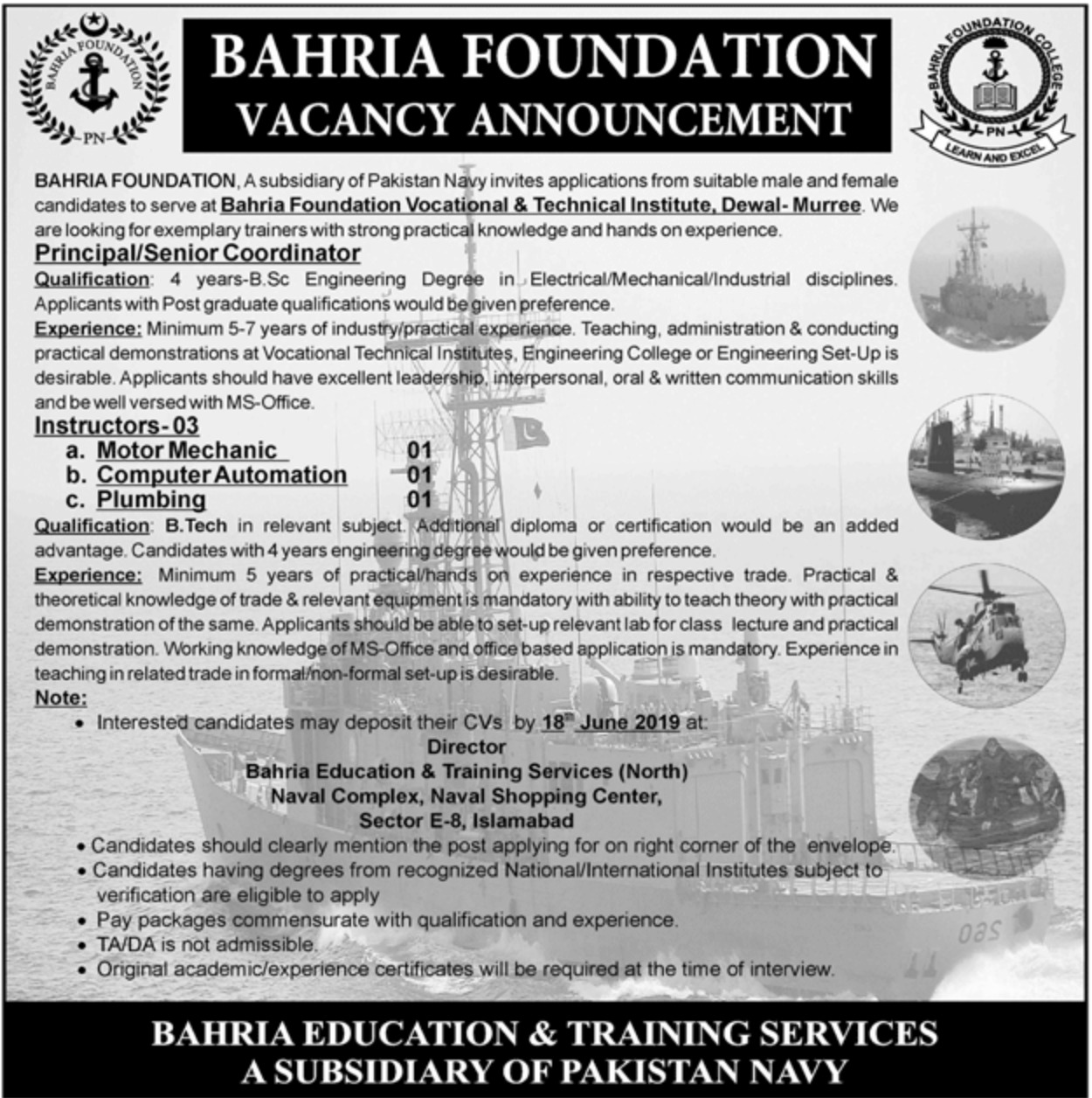 Bahria Foundation Vocational & Technical Institute Dewal Murree Jobs 2019