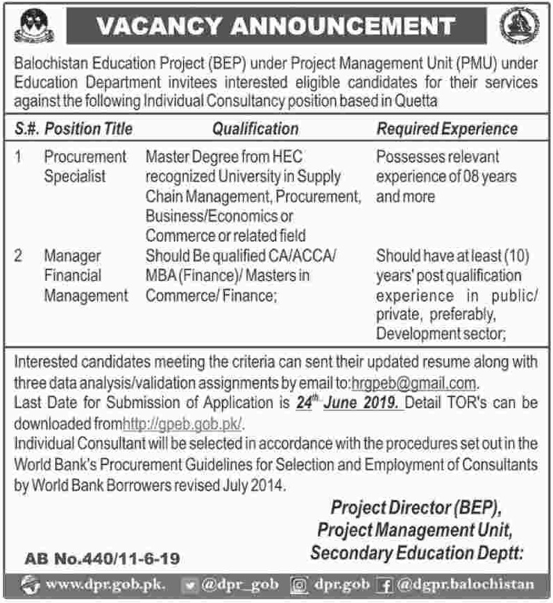 Balochistan Education Department Jobs 2019
