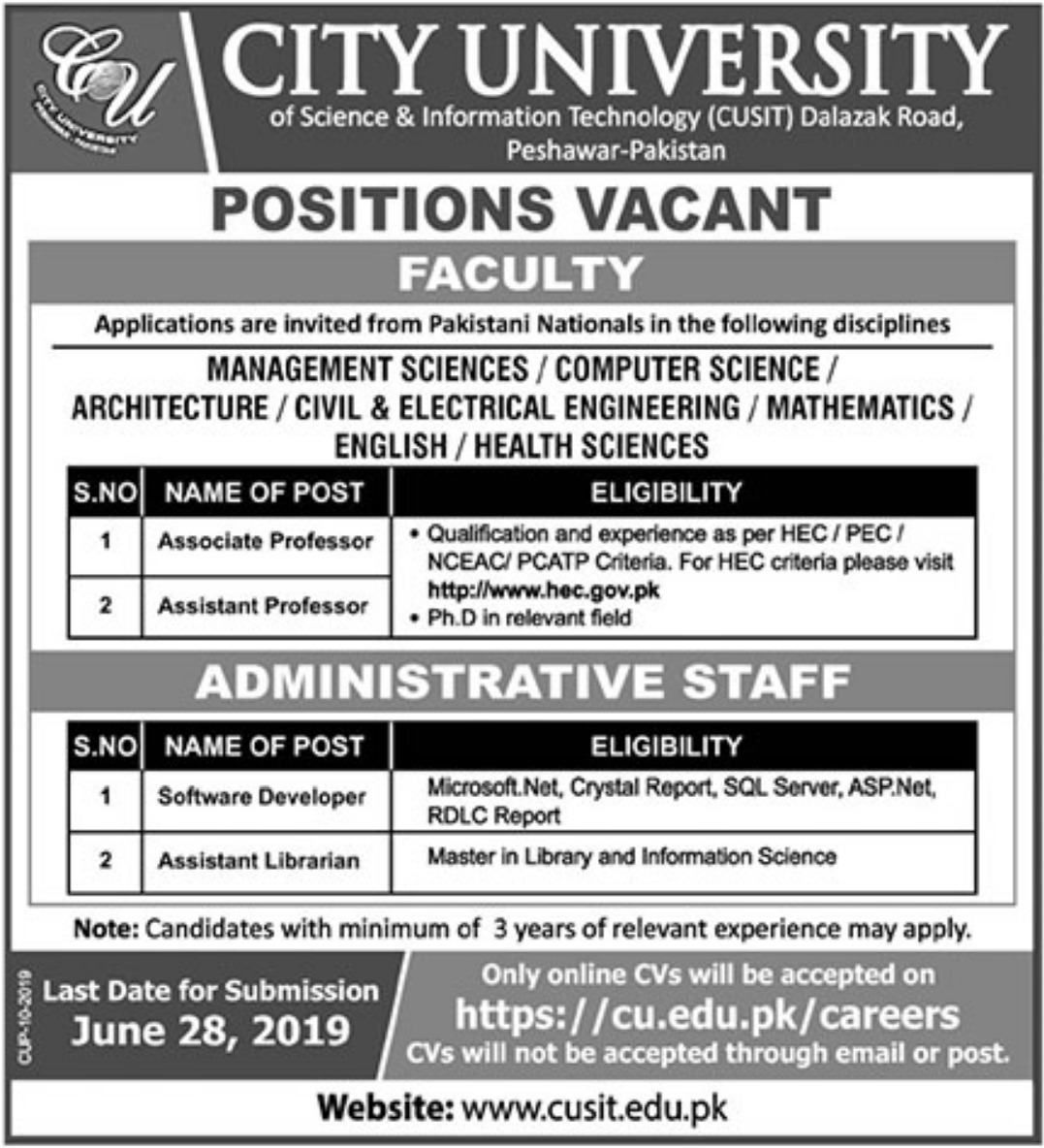 City University Peshawar Jobs 2019 Khyber Pakhtunkhwa