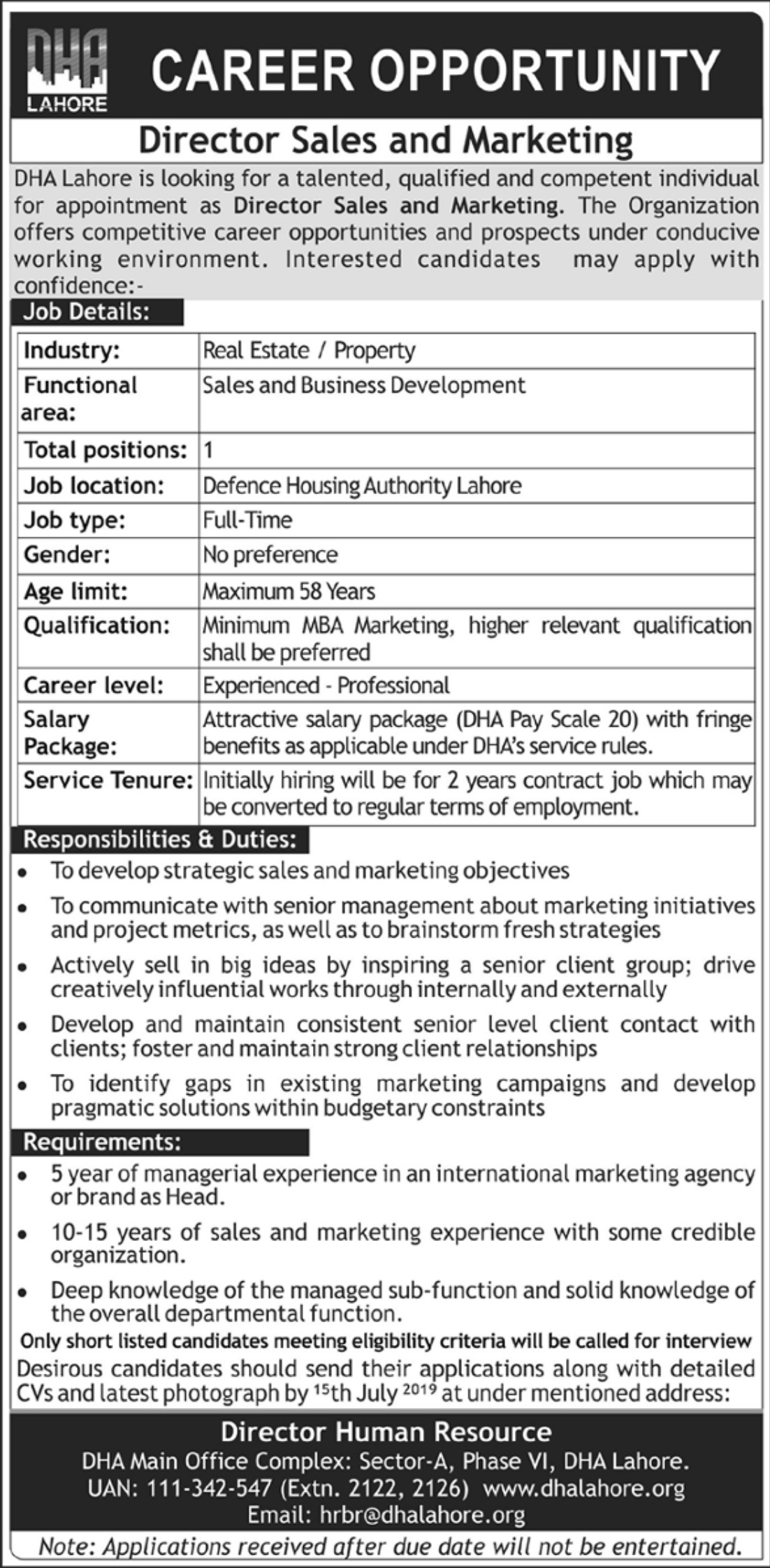 DHA Lahore Jobs 2019 Director Sales & Marketing