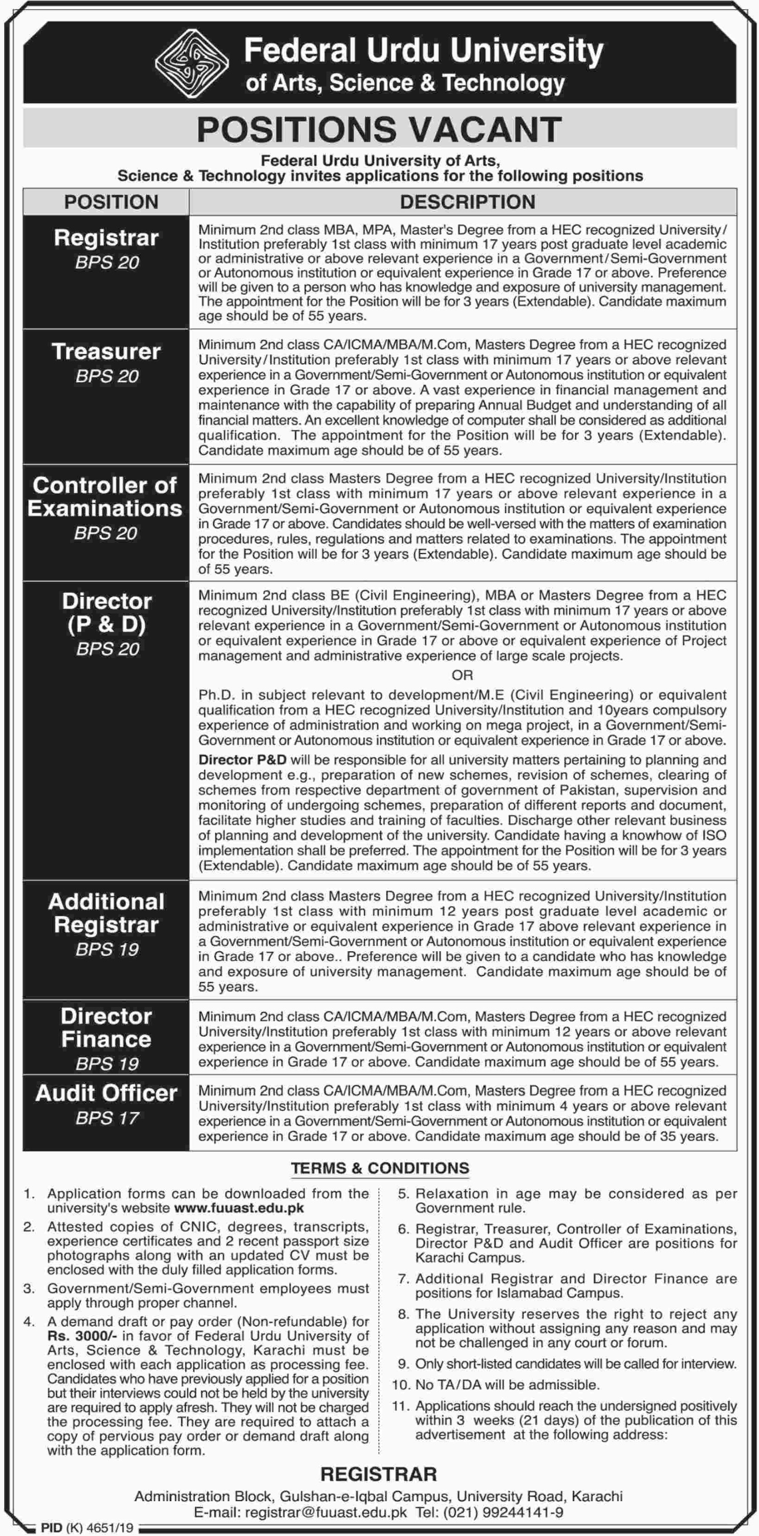 Federal Urdu University of Arts Science & Technology Jobs 2019