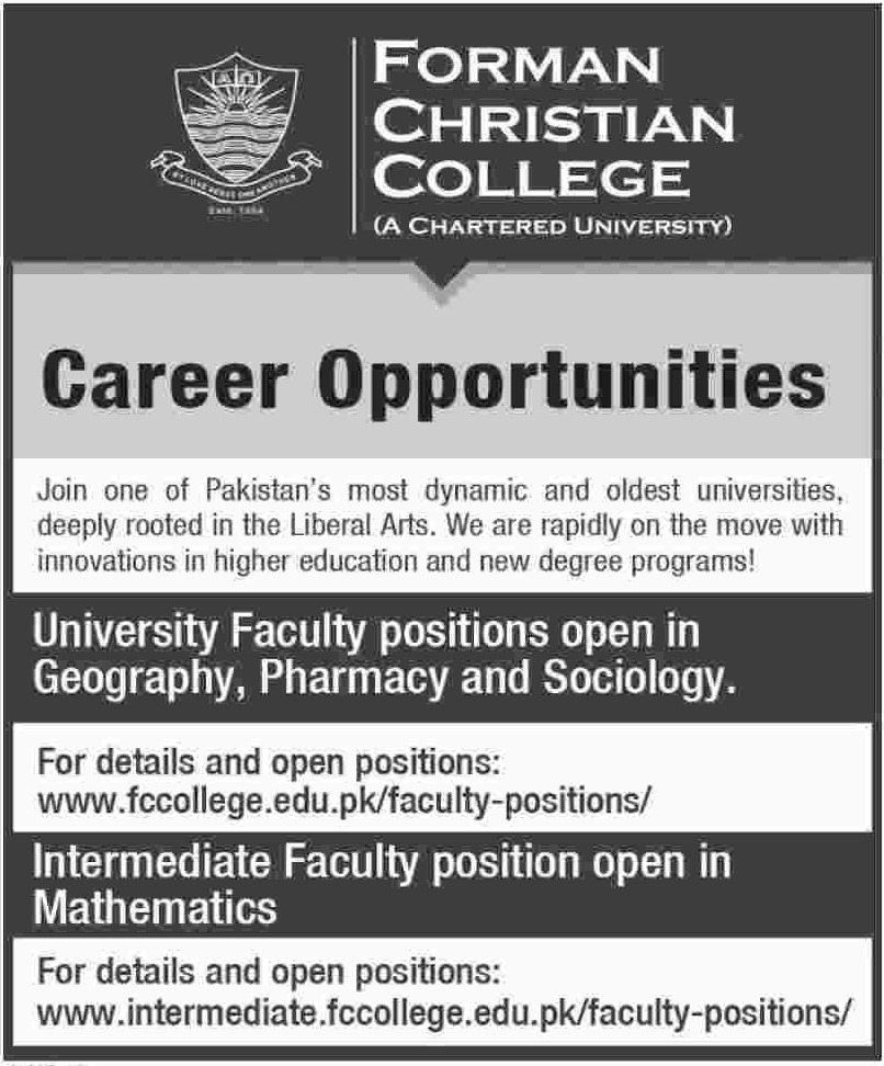 Forman Christian College Jobs 2019 Faculty Positions
