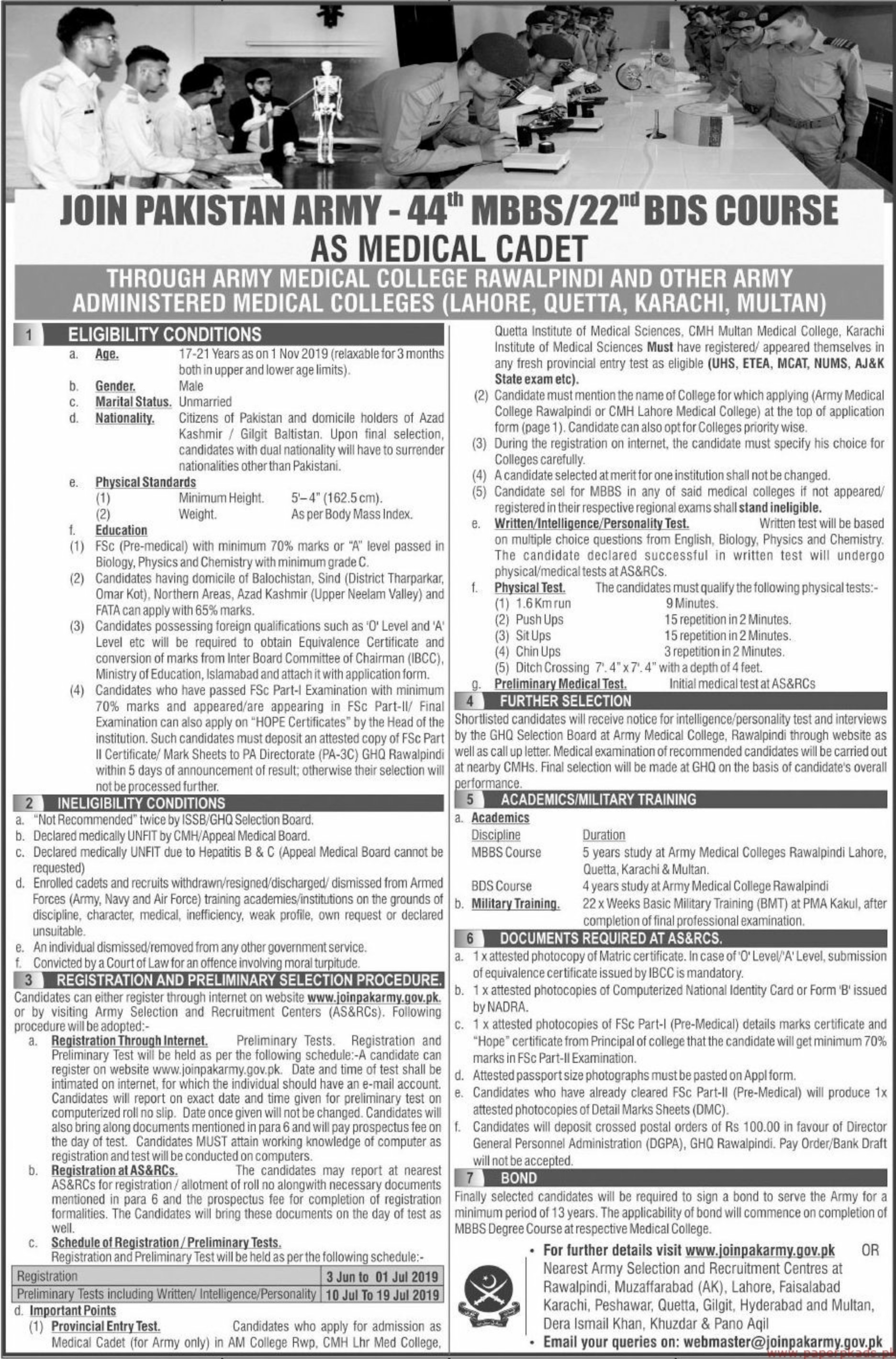 Join Pakistan Army as Medical Cadet 2019
