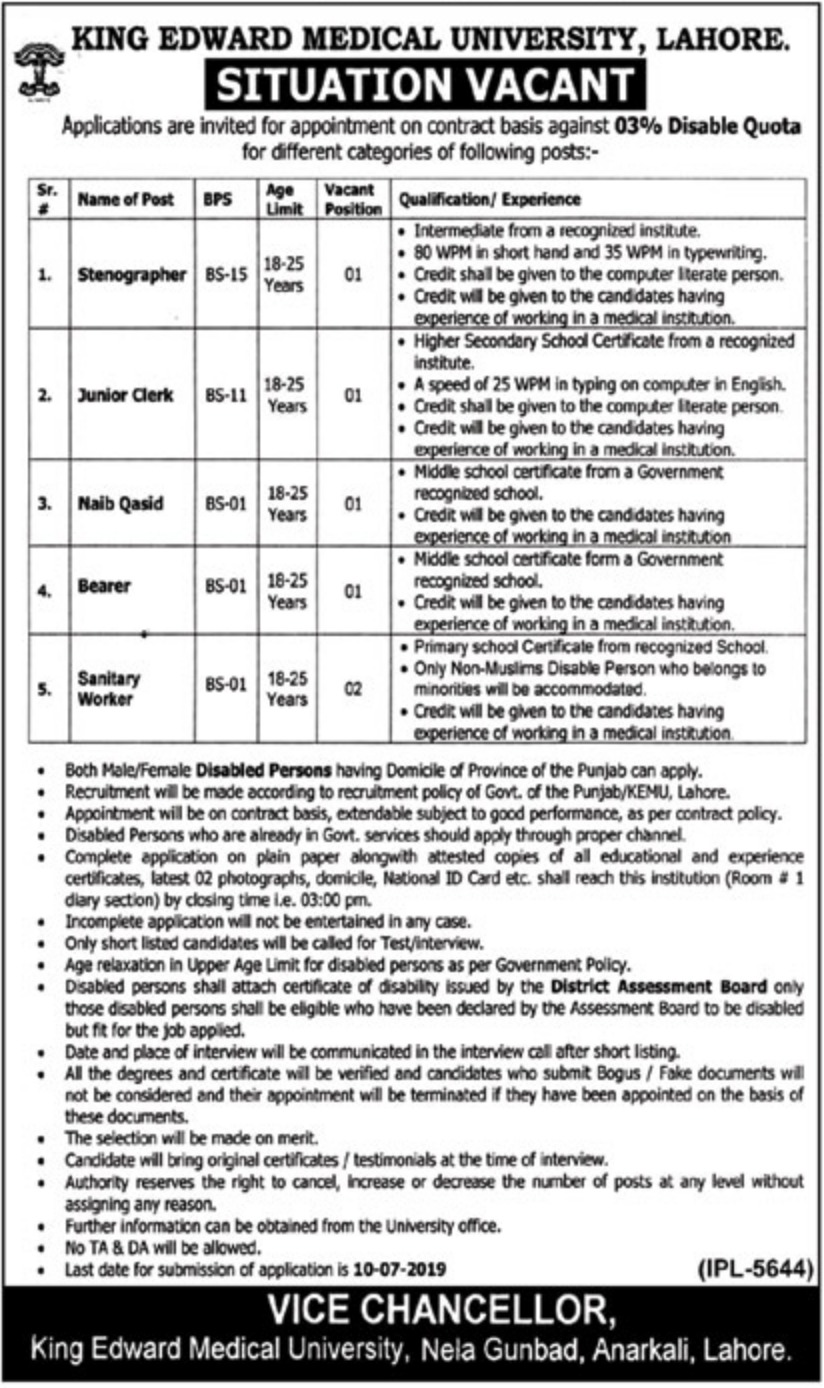 King Edward Medical University KEMU Lahore Jobs 2019 Disabled Quota
