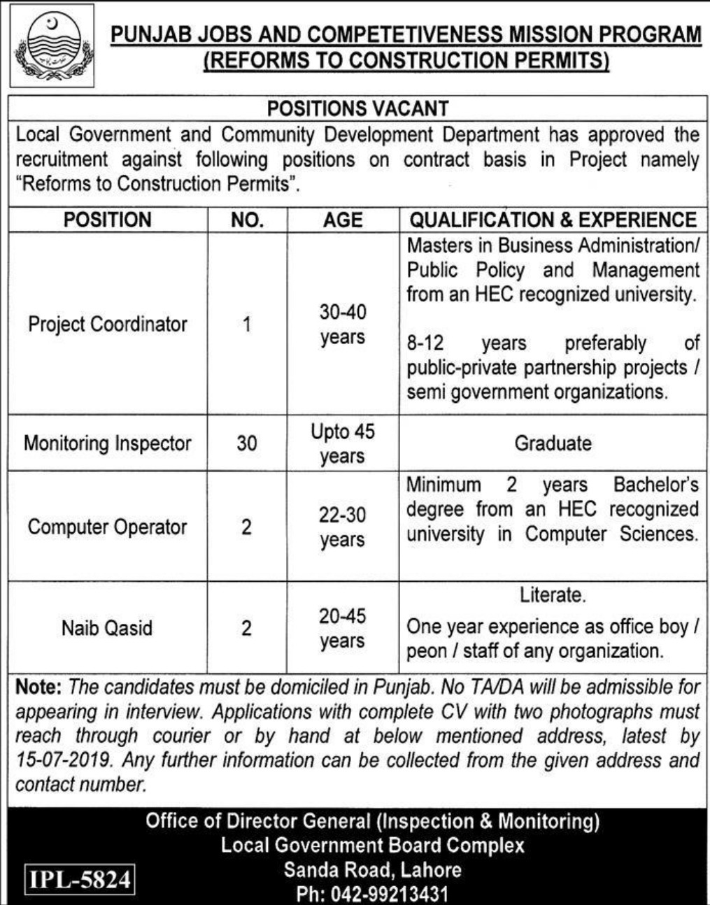 Local Government and Community Development Department Government of Punjab Jobs 2019