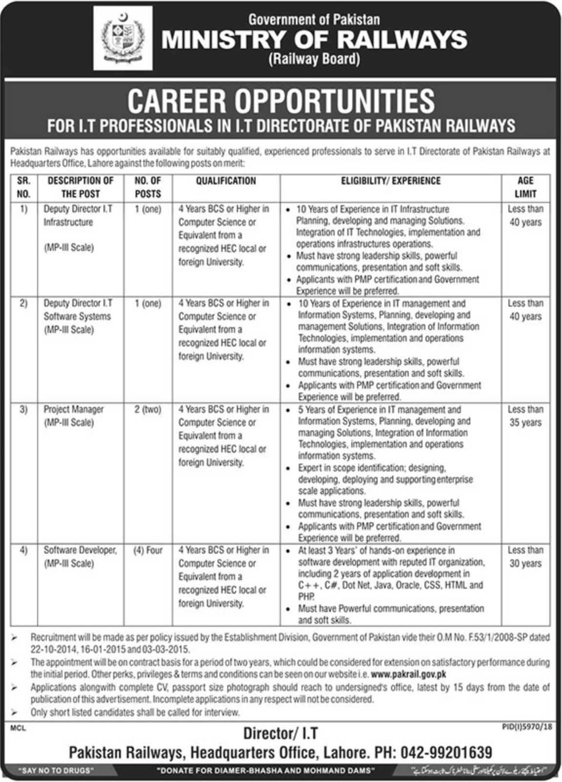 Ministry of Railways Jobs 2019 for IT Professionals