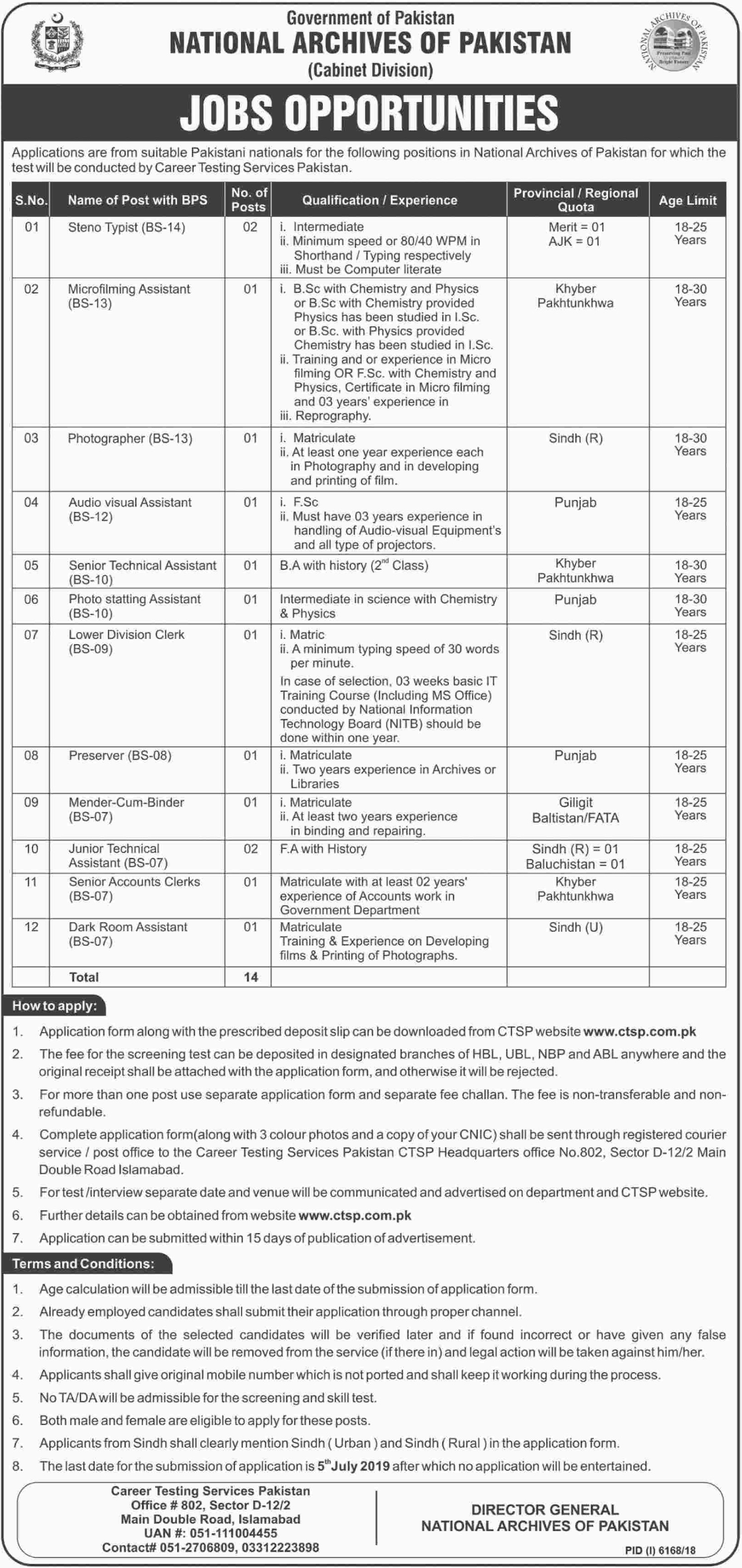 National Archives of Pakistan Jobs 2019 Apply through CTSP