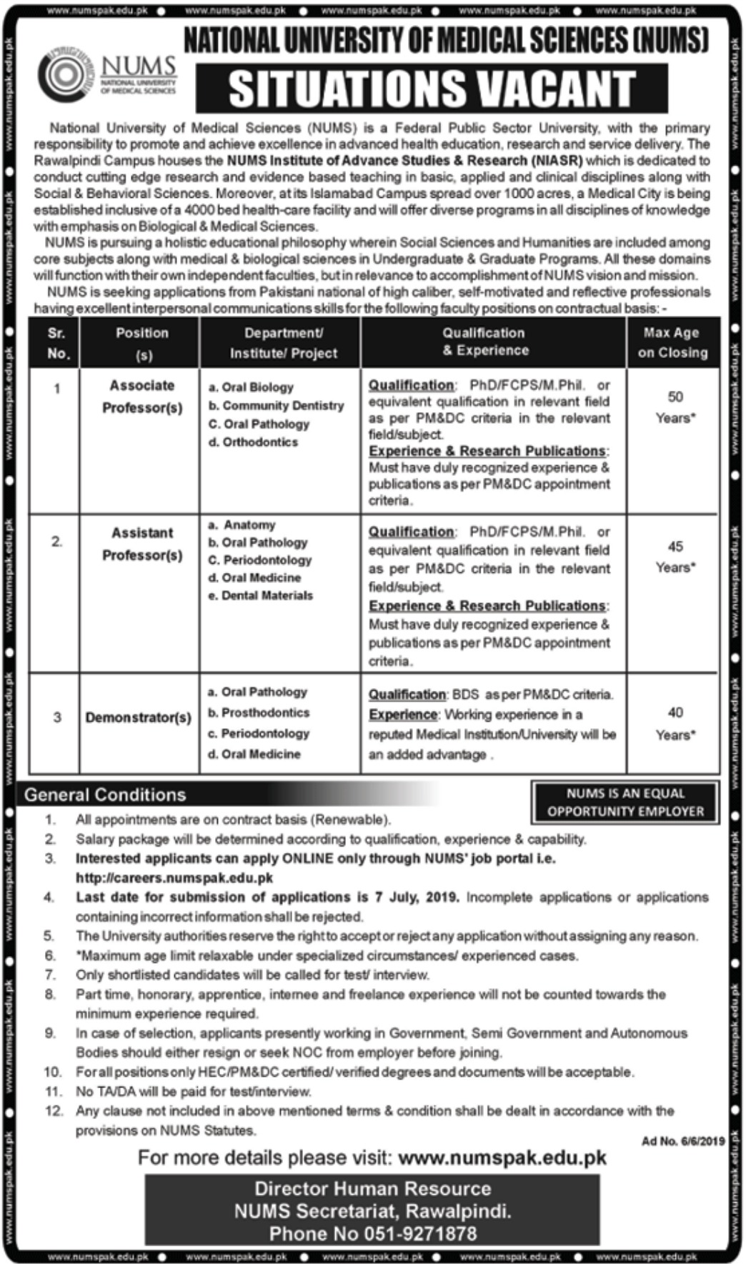 National University of Medical Sciences NUMS Islamabad Jobs 2019
