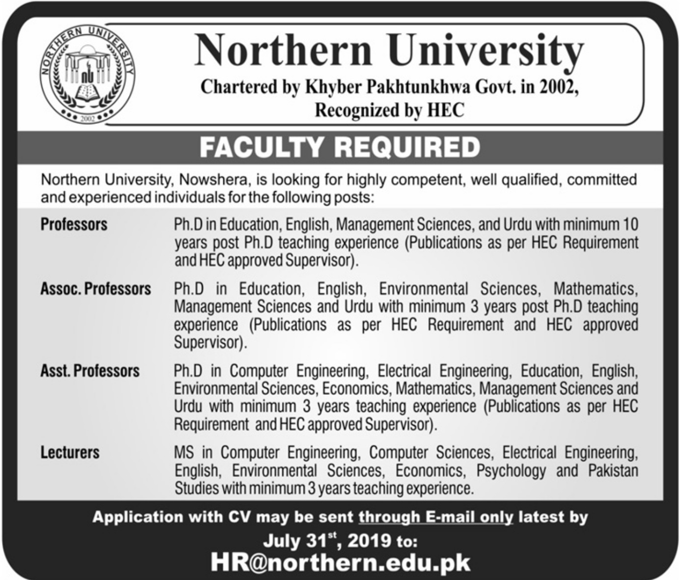 Northern University Nowshera Jobs 2019 Khyber Pakhtunkhwa