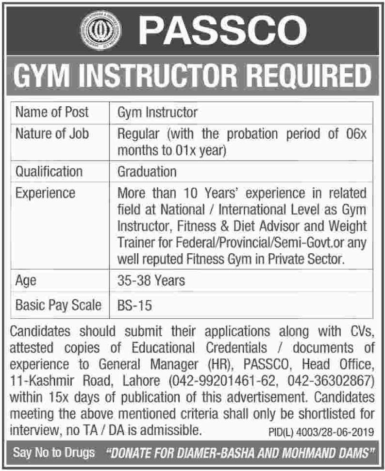 PASSCO Lahore Jobs 2019 Gym Instructor