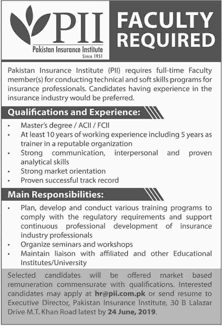Pakistan Insurance Institute PII Jobs 2019