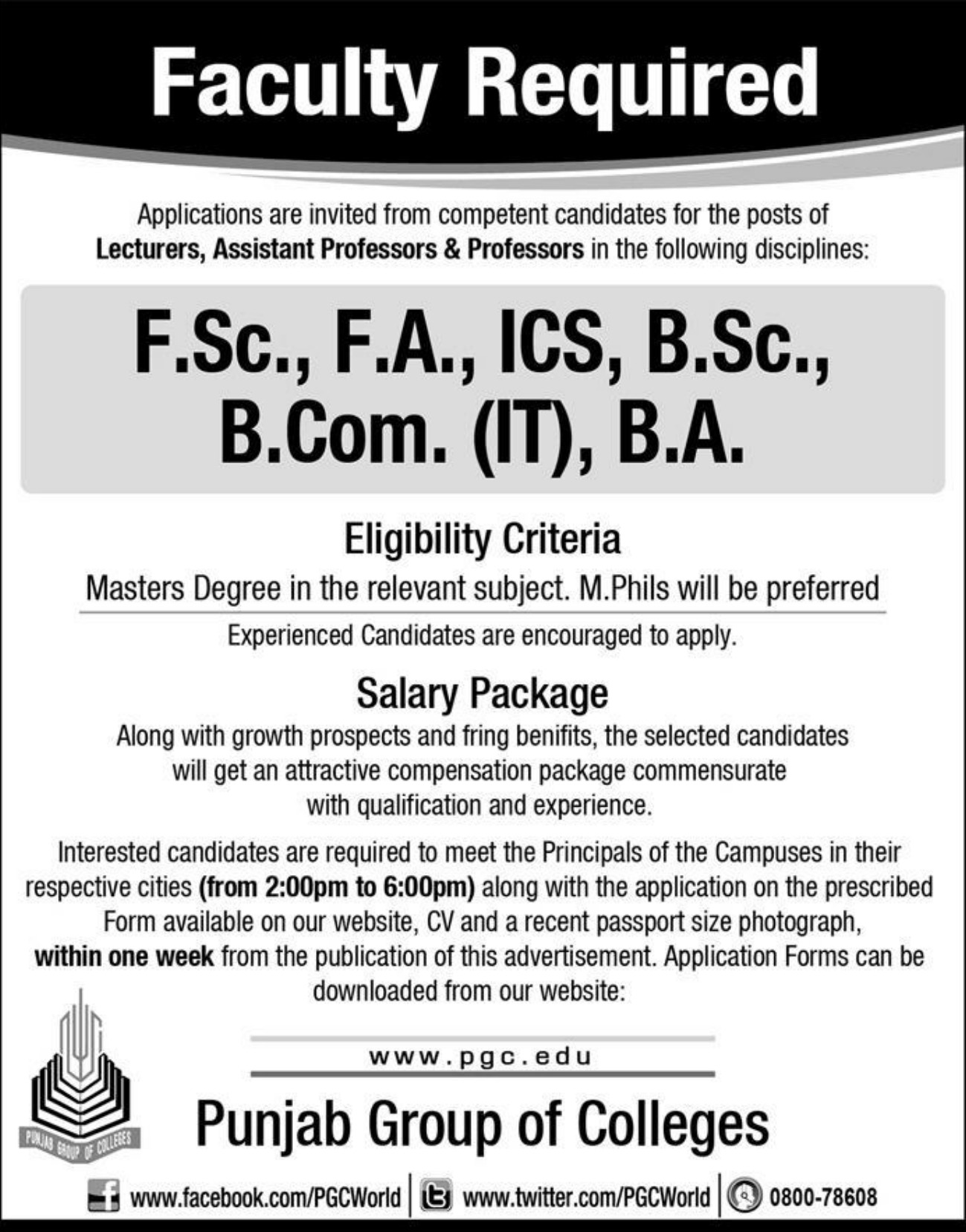 Punjab Group of Colleges Jobs 2019
