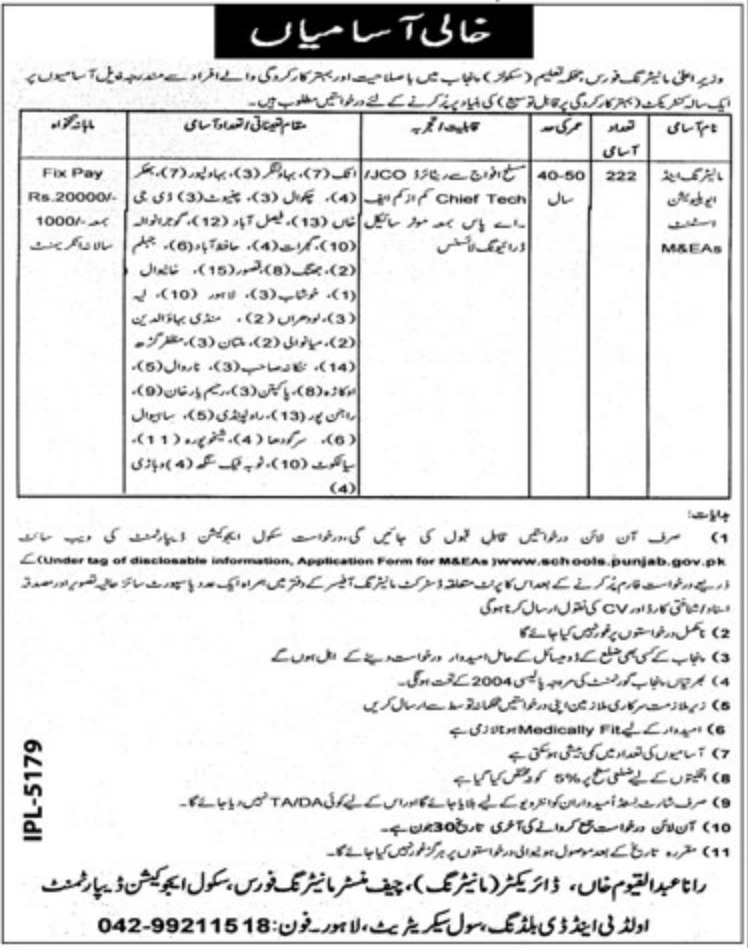 Punjab School Education Department Jobs 2019 CM Monitoring Force