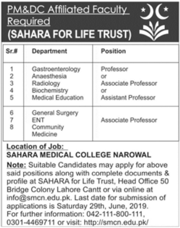 Sahara Medical College Narowal Jobs 2019