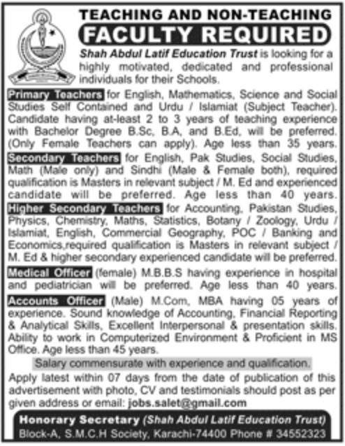 Shah Abdul Latif Education Trust Karachi Jobs 2019