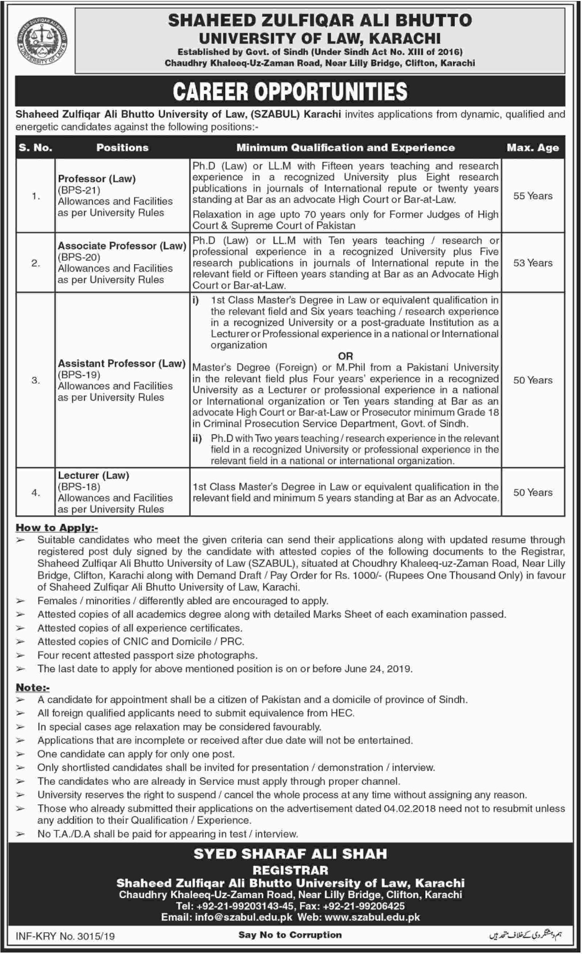 Shaheed Zulfiqar Ali Bhutto University of Law Karachi Jobs 2019 Sindh