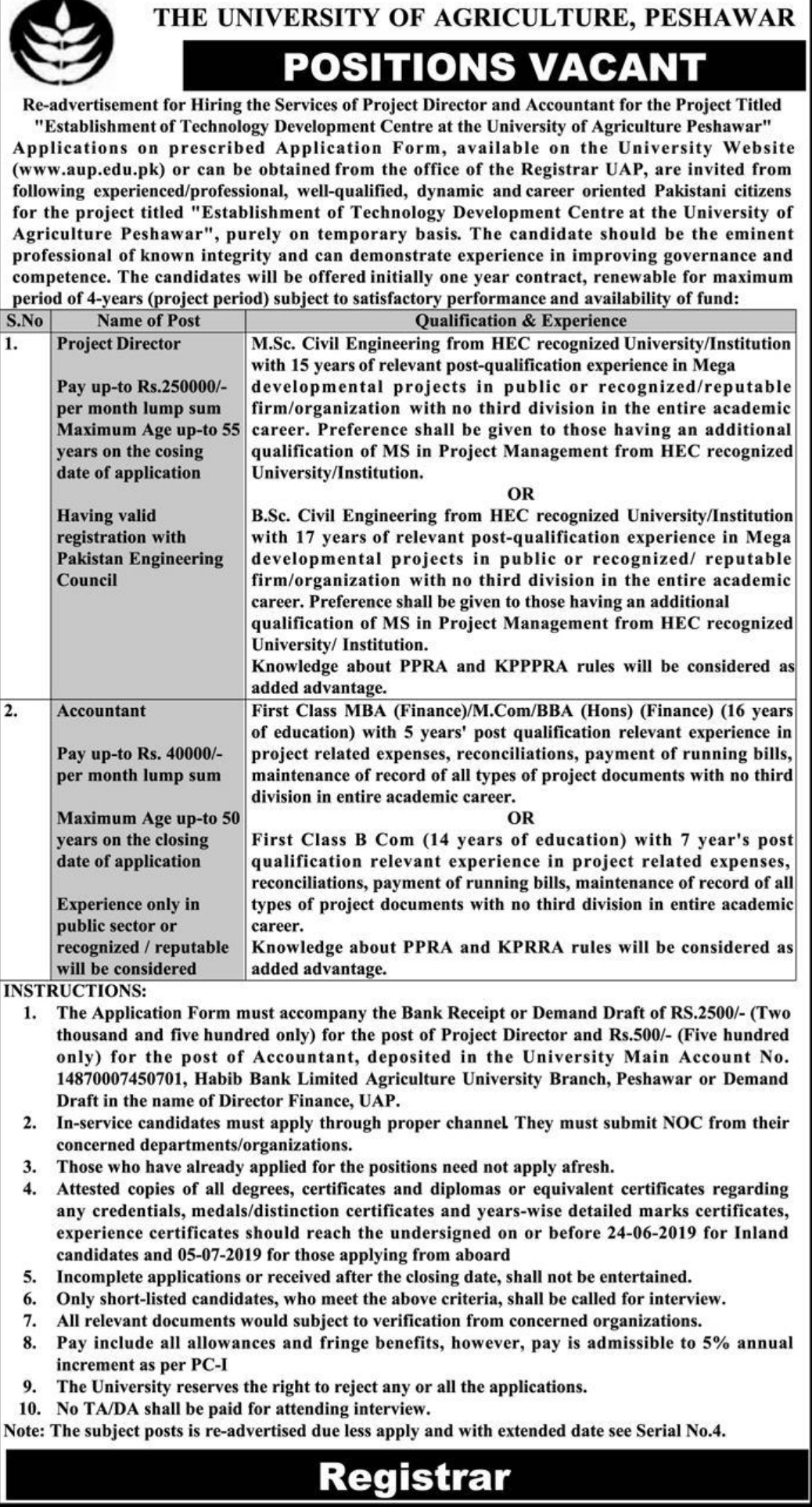 The University of Agriculture Peshawar Jobs 2019 KPK