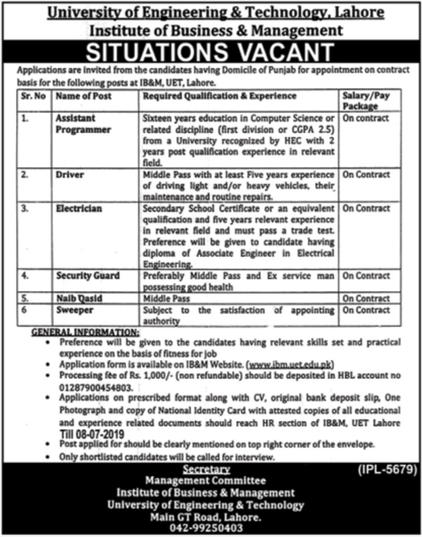 University of Engineering & Technology UET Lahore Jobs 2019