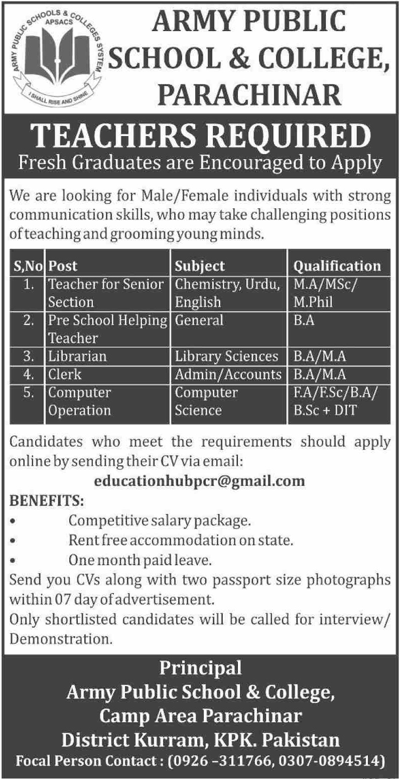 Army Public School & College APS&C Parachinar Kurram Jobs 2019 KPK