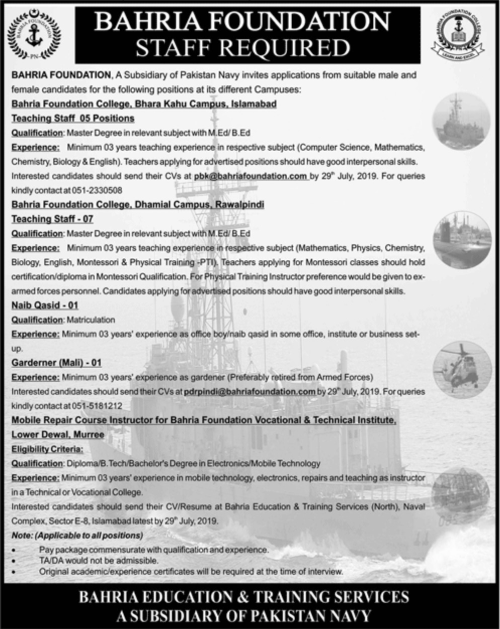Bahria Foundation Jobs 2019 Different Campuses
