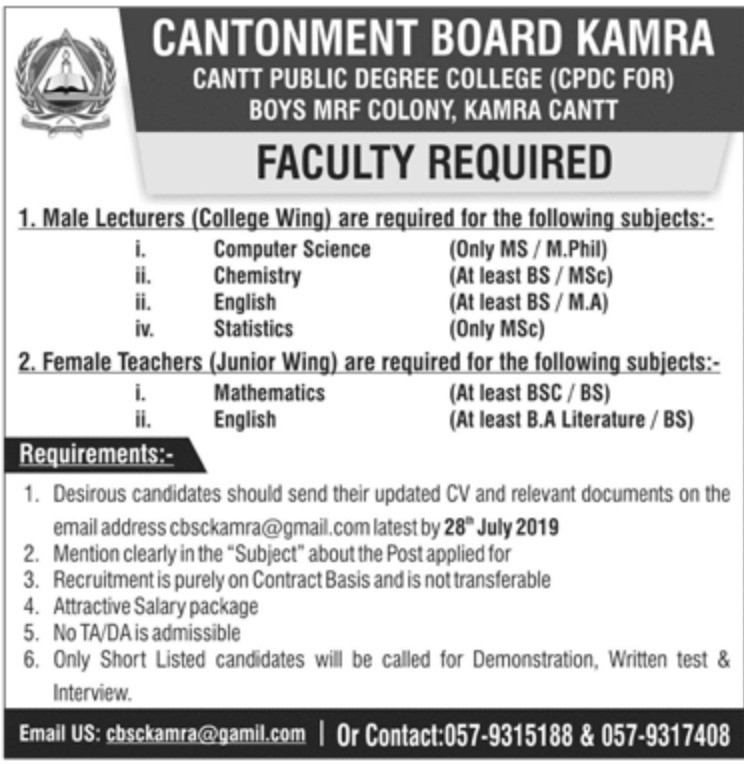 Cantonment Board Kamra Jobs 2019 Cantt Public Degree College for Boys