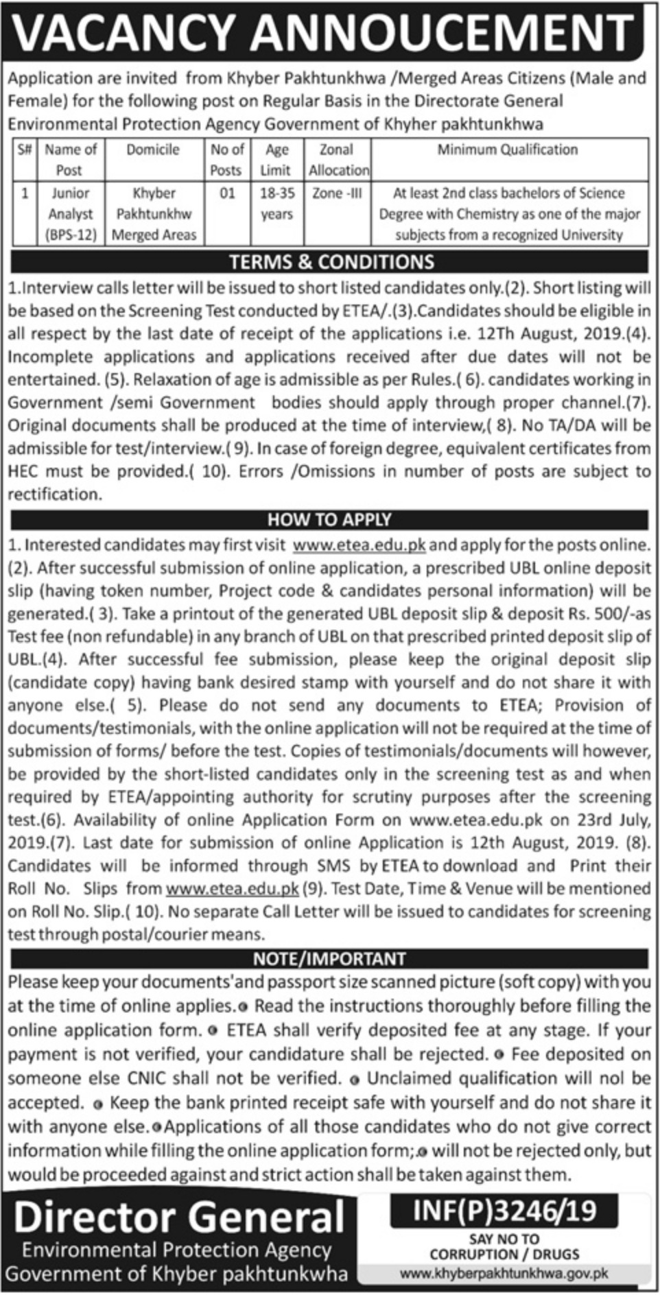 Environmental Protection Agency Jobs 2019 Government of Khyber Pakhtunkhwa