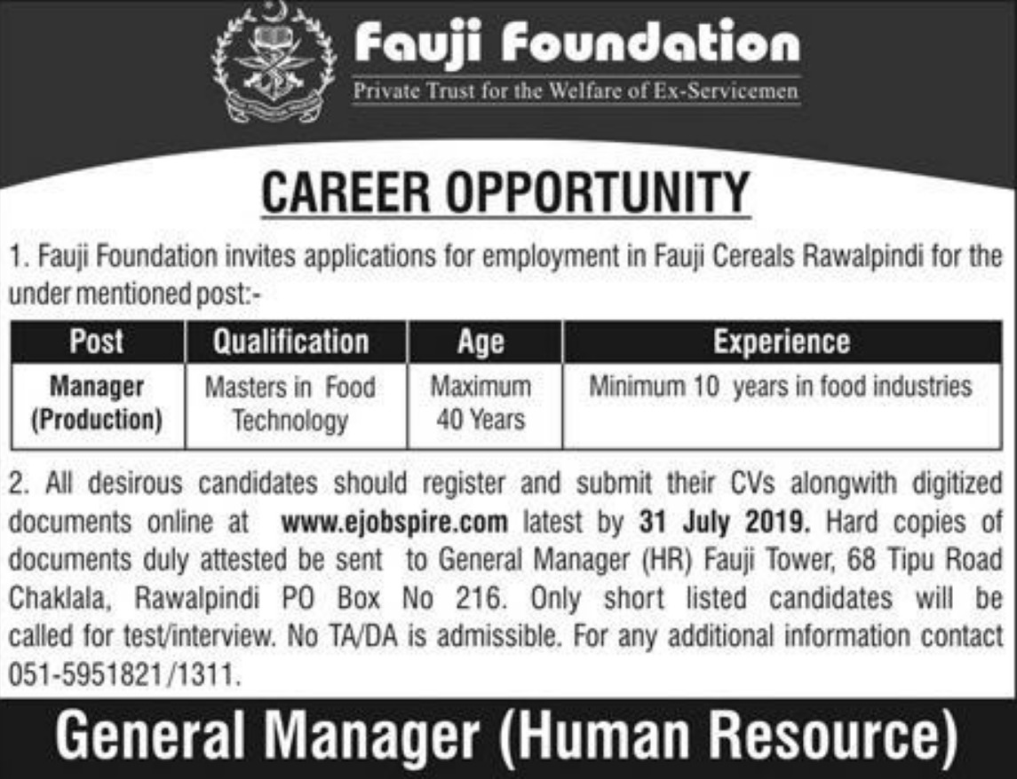 Fauji Foundation Jobs 2019 Fauji Cereals Rawalpindi