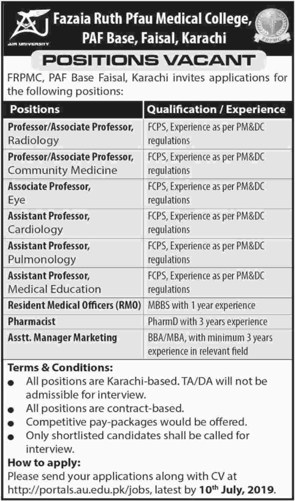 Fazaia Ruth Pfau Medical College Karachi Jobs 2019