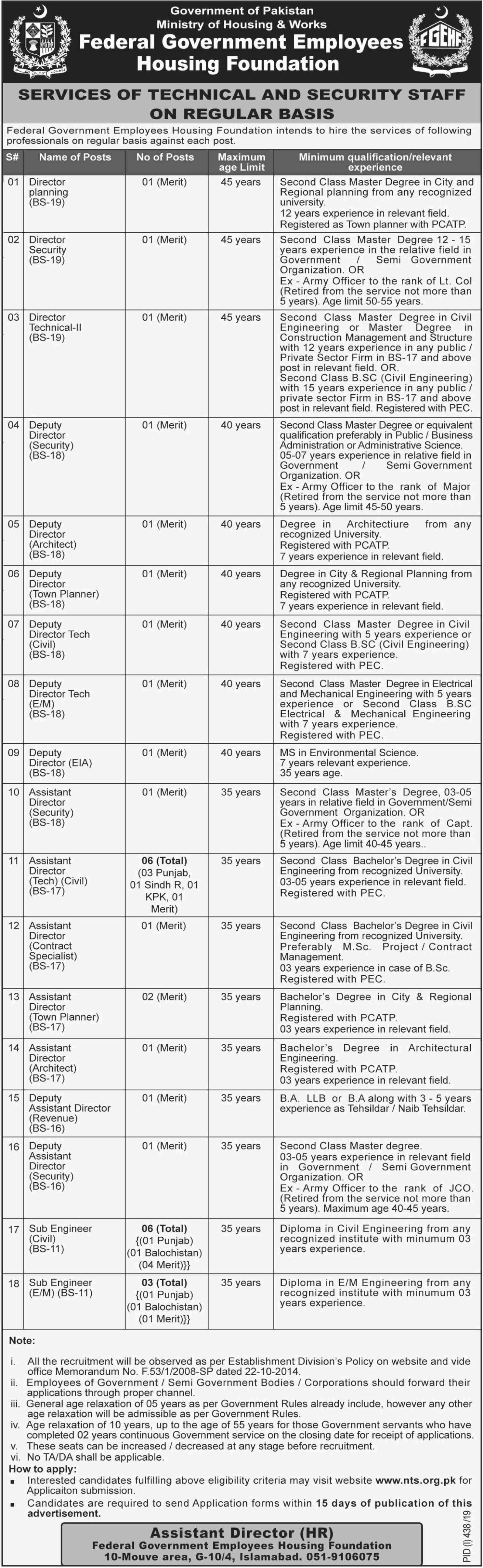 Federal Government Employees Housing Foundation FGEHF Jobs 2019 Download NTS Application Form