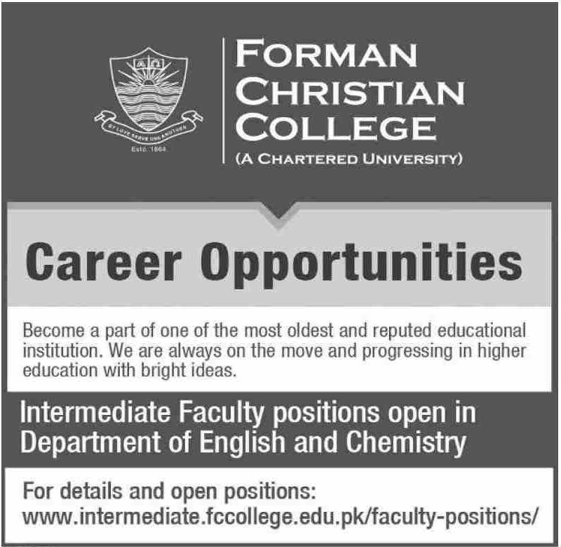 Forman Christian College Jobs 2019 Intermediate Faculty Positions