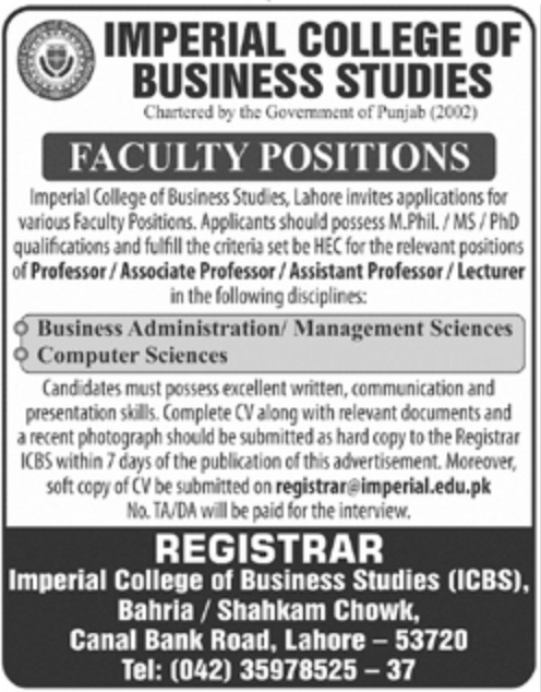 Imperial College of Business Studies Lahore Jobs 2019